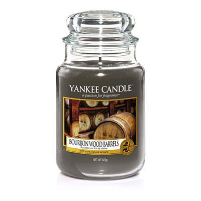 Candela in giara di vetro autunno 2017 yankee candle bourbon wood